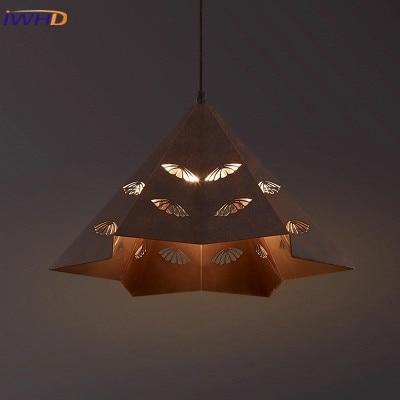 Vintage Iron Pendant Light Industrial Loft Retro Droplight Bar Bedroom Restaurant American Country Style Diamon Hanging Lamp