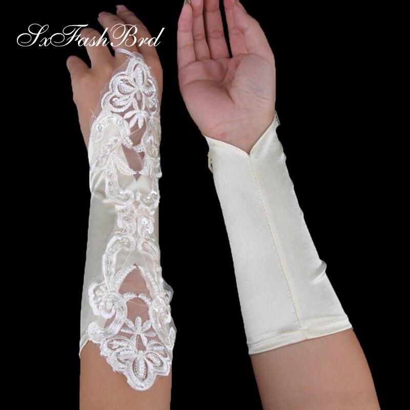Без пальцев Длина опера бисером свадебные перчатки кружева свадебные перчатки свадебные аксессуары