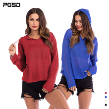 PGSD Autumn Simple fashion Women Clothes Thin knitted sweater loose slim pullover Long Sleeve Pure color Hooded T-shirt female pgsd autumn winter sports women clothes fashion simple pure color pocket midriff baring frenulum hooded sexy casual suit female