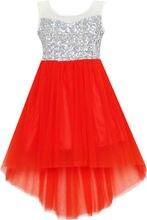 Ensoleillé Mode Fleur Fille Robe Sequin Mesh Partie De Mariage Princesse Tulle Rouge 2016 Robes D'été Fille Vêtements Taille 7-14 Pageant