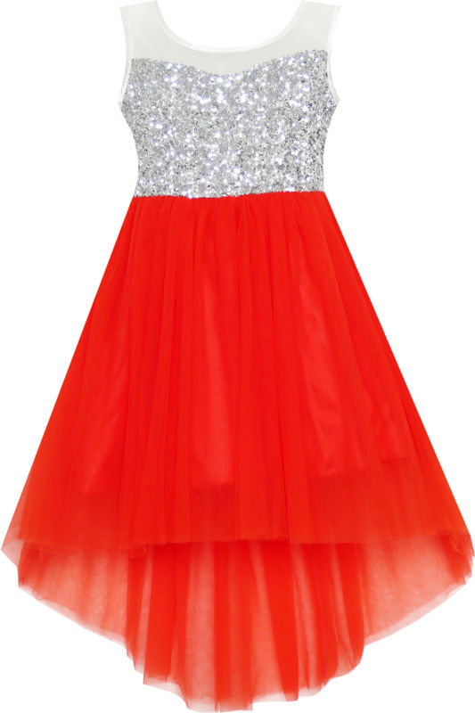 Sunny Fashion Girls Dress Red Sequin Mesh Party Wedding Tulle Kids Children Clothes 7-14 Girl Summer Princess Dresses Vestidos