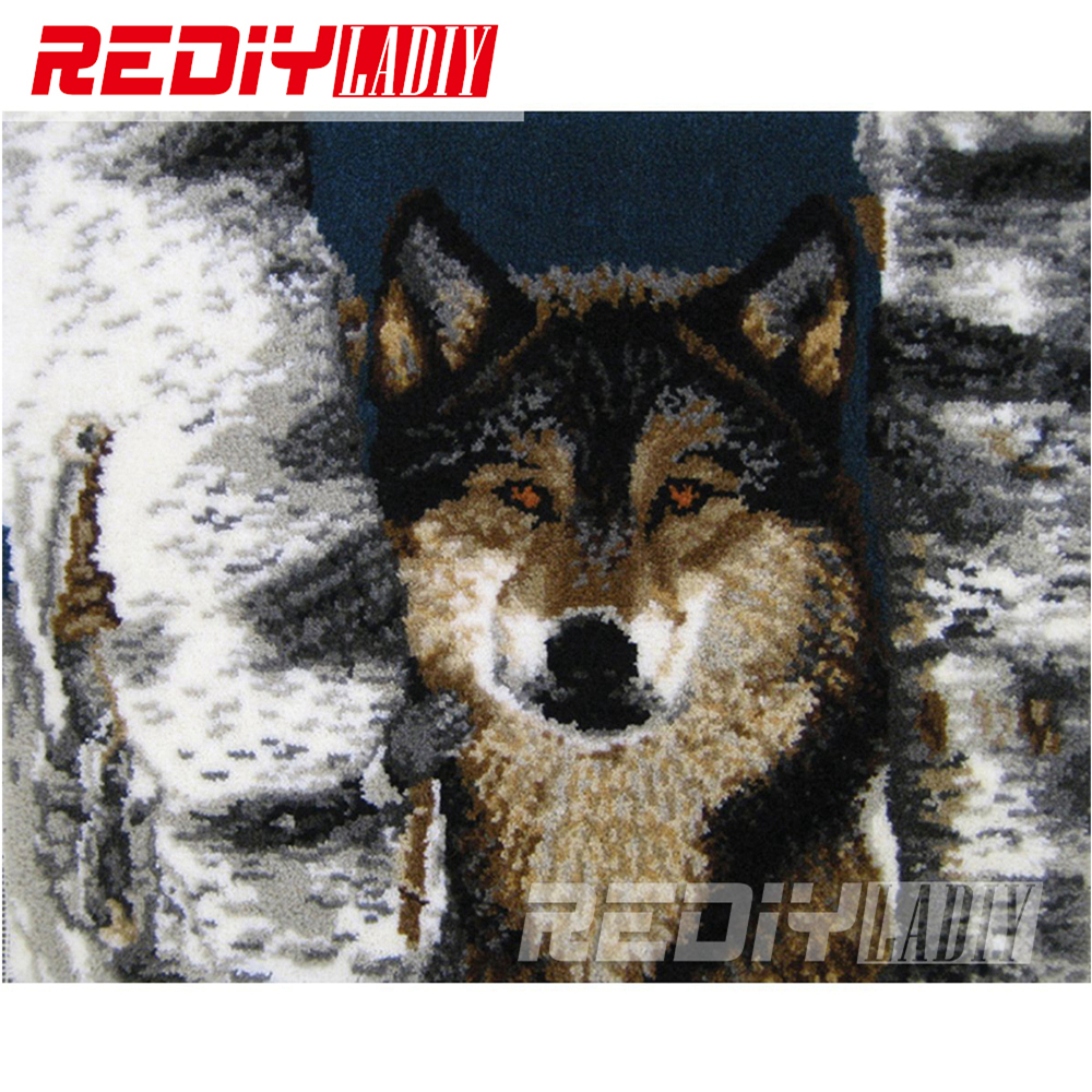 Latch Hook Rug Wall Hanging Crocheting Tapestry Forest Wolf Cushion Kits for Embroidery Home Carpet Handicraft