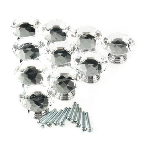 WSFS Venda Quente 10 Pcs 40mm Cristal Diamante Forma Gabinete Knob Gaveta