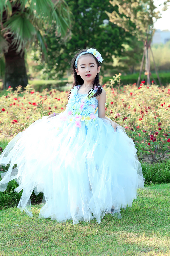 5pcs/Lot DHL Princess Belle Flower Fairy Tutu Dress Kids Fancy Party Beauty Beast Cosplay Costume Girls Ball Gown Size 70-160