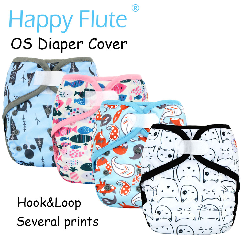 Happy Flute Hook&Loop OS Baby Cloth Diaper Cover With Or Without Bamboo Cotton Insert,waterproof Breathable S M& L Adjustable