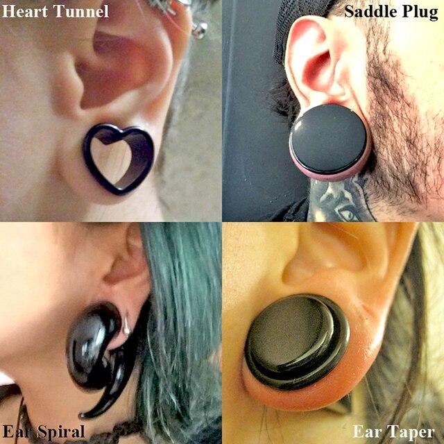 """ביצה-זוג לב השחור מנהרת אוזן מד Expander תקעים פיד אלונקות אוזן מד אקריליק ספירלת אוזן אטמי אוזני אוכף 4-25 מ""""מ"""