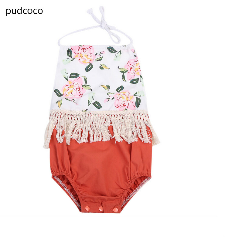 Newborn Baby Girl Print Tassels Rompers Floral Sleeveless Backless Patchwork One Piece Romper Jumpsuits Infant Clothes Outfit
