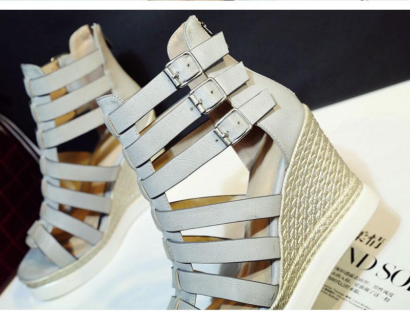 Gladiator Shoes, Women's Platform Wedges, High Heel Sandals, Rome Ladies Wedge Heels 13
