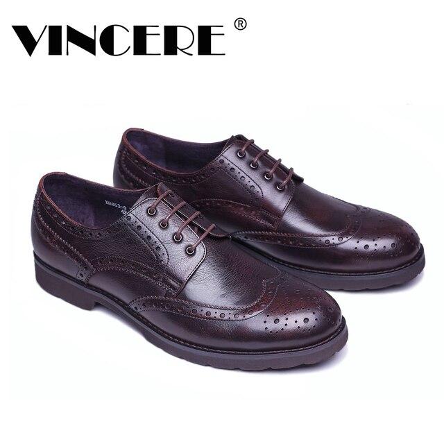 1543d79f86 VINCERE Homens Oxford Sapatos Estilo Britânico Do Vintage Genuíno Homem De  Couro Marrom Sapatos de Negócios