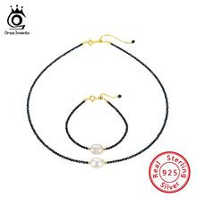 ORSA JEWELS Silver 925 Pearl Jewelry Set Natural Stone Necklaces+Bracelets Spinel Garnet Choker Beads Bracelet OSS37