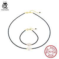 ORSA JEWELS Silver 925 Pearl Jewelry Set Natural Stone Necklaces+Bracelets Spinel Garnet Choker Beads Bracelet Silver Set OSS37