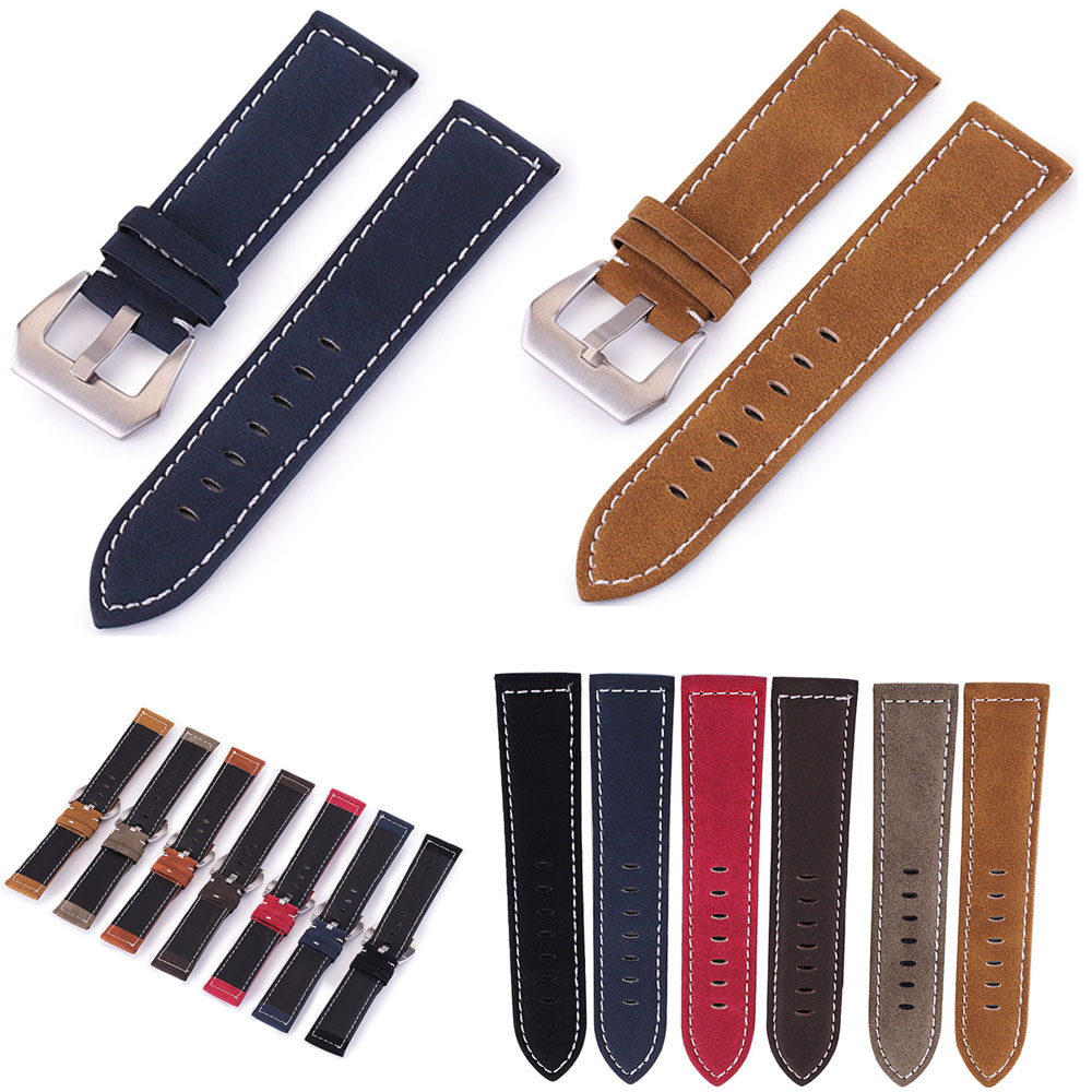 New Black Brown Blue Red Retro Matte Leather Watch Band 18mm 20mm 22mm 24mm Leather Strap Stainless Steel Buckle Watchbands