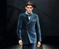 Последние конструкции пальто брюки Темно синие бархат двубортный пользовательские жених Для мужчин Костюмы приталенный смокинг 2 шт. TERNO ку
