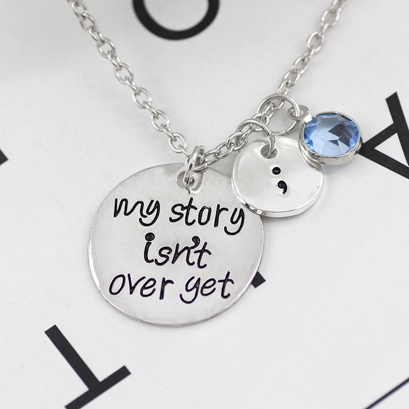 Jewelry & Access. ...  ... 32796769023 ... 3 ... Carved My Story Isn't Over Yet Semicolon Necklace Pink Blue Crystal Bead Charm Pendant Gifts For Women Girl Family Collier Femme ...