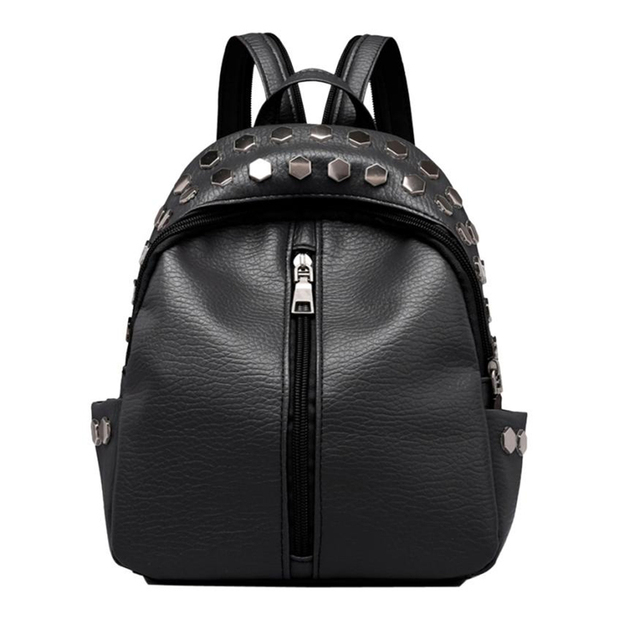 Vintage Women's Rivets Leather Look Backpack