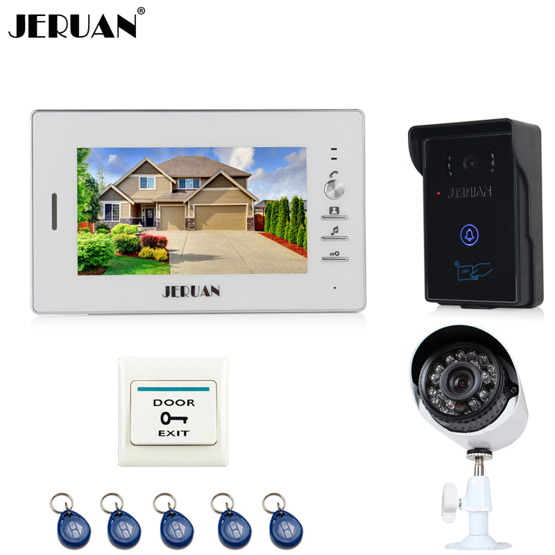 JERUAN Home 7 inch TFT screen Video Door Phone Intercom System waterproof RFID Access Camera + 700TVL Analog Camera In stock jeruan home 7 video door phone intercom system kit 1 white monitor metal 700tvl ir pinhole camera rfid access control in stock