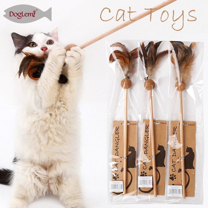 Yooap 2019 New Arrival Cat Wand with Catnip Ball Mimi Dangler Feather Teaser Toy Plush Pet Supplies Interactive Game