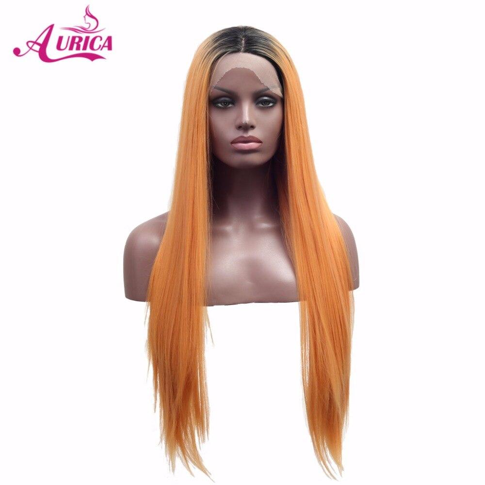 Aurica Ombre Oranje Warmte Veilige Synthetisch Haarkant Met Zwarte Wortels Voor Vrouwen