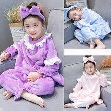 Flannel winter christmas pajamas sets pink/blue/purple for girls solid color sleepwear pyjamas kids