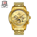 Бренд Теги BINKADA Механические Часы Моды для Мужчин Полный Золото Сталь Автоматические Механические Часы Наручные Часы Reloj Hombre