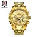 Etiquetas da marca BINKADA Relógios Mecânicos Homens Moda de Aço Cheio de Ouro Relógio Mecânico Automático Relógio de Pulso Reloj Hombre