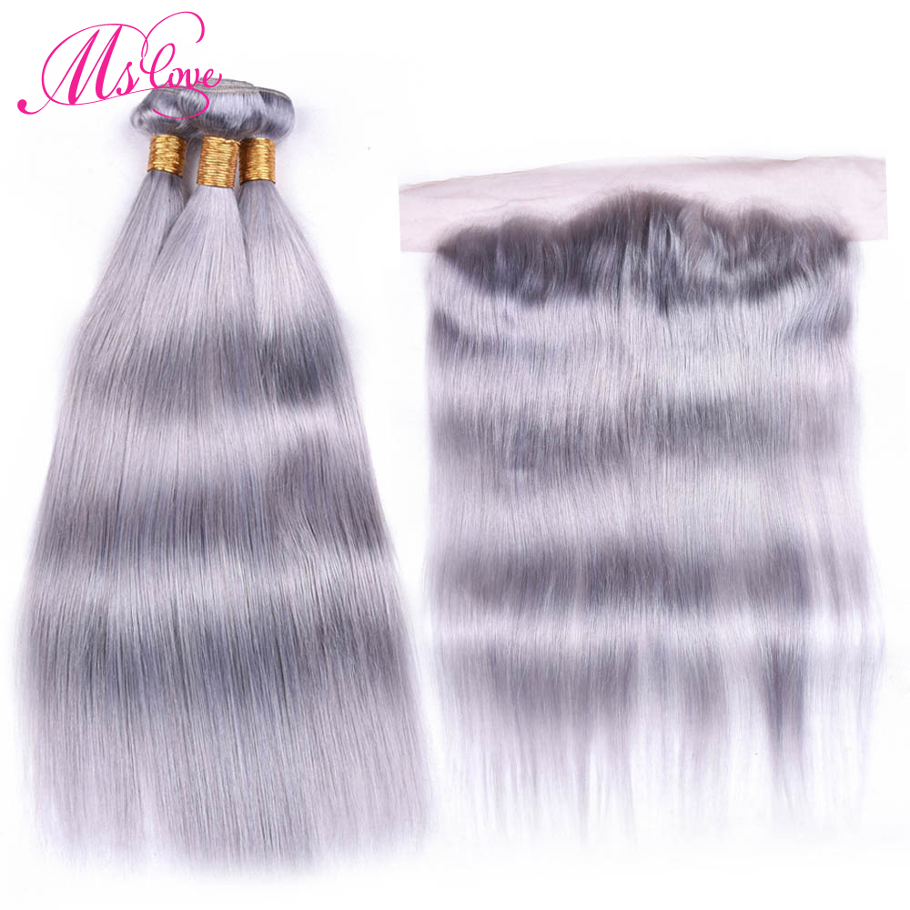 Ms Love Grey Bundles With Frontal Closure 13 4 Ear To Ear Lace Frontal Peruvian Straight