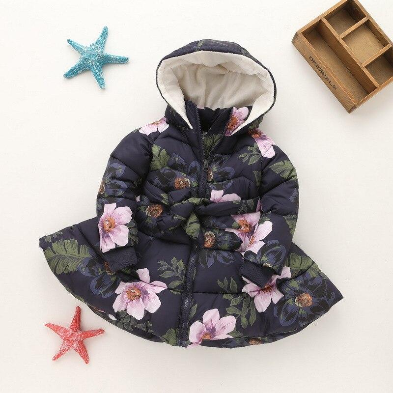 2016 Girls New Winter Cotton Padded Jackets Kids Cotton Ball Gown Dress Thicken Children Coats Toddler