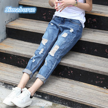 2017 New Arrival Summer Women Jeans Trousers Casual Vintage Denim Pants Mid Waist Girlfriend Loose Hole Ankle-Length Pants Jeans 2017 new spring summer new jeans women ankle length straight mid waist jeans lady ripped loose fashion trousers fat mm 26 32