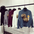 3D fox real  fur  knitted Sweater jumpers pull femme Women long Sleeve high neck Pullovers