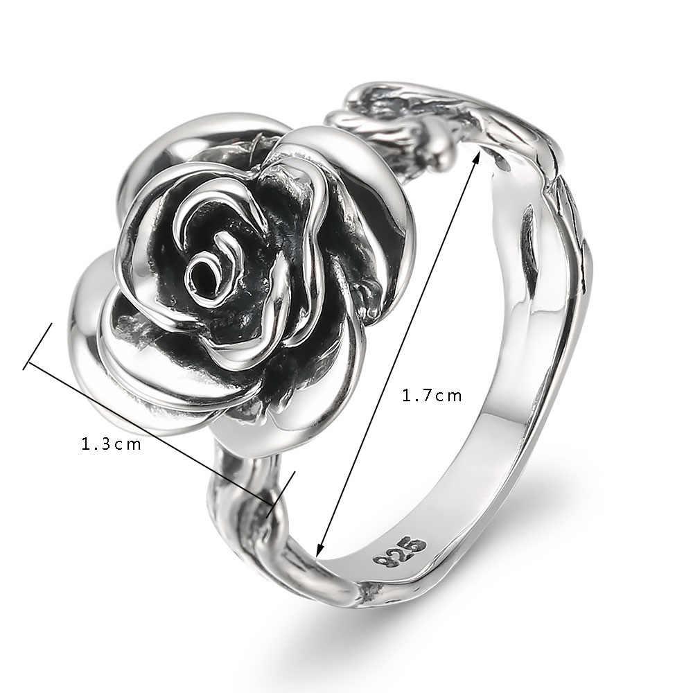 V. יה רטרו שחור תאילנדי כסף רוז פרח טבעות לנשים 100% 925 סטרלינג כסף אצבע טבעת S925 שחור עלה מפלגה טבעת פאנק