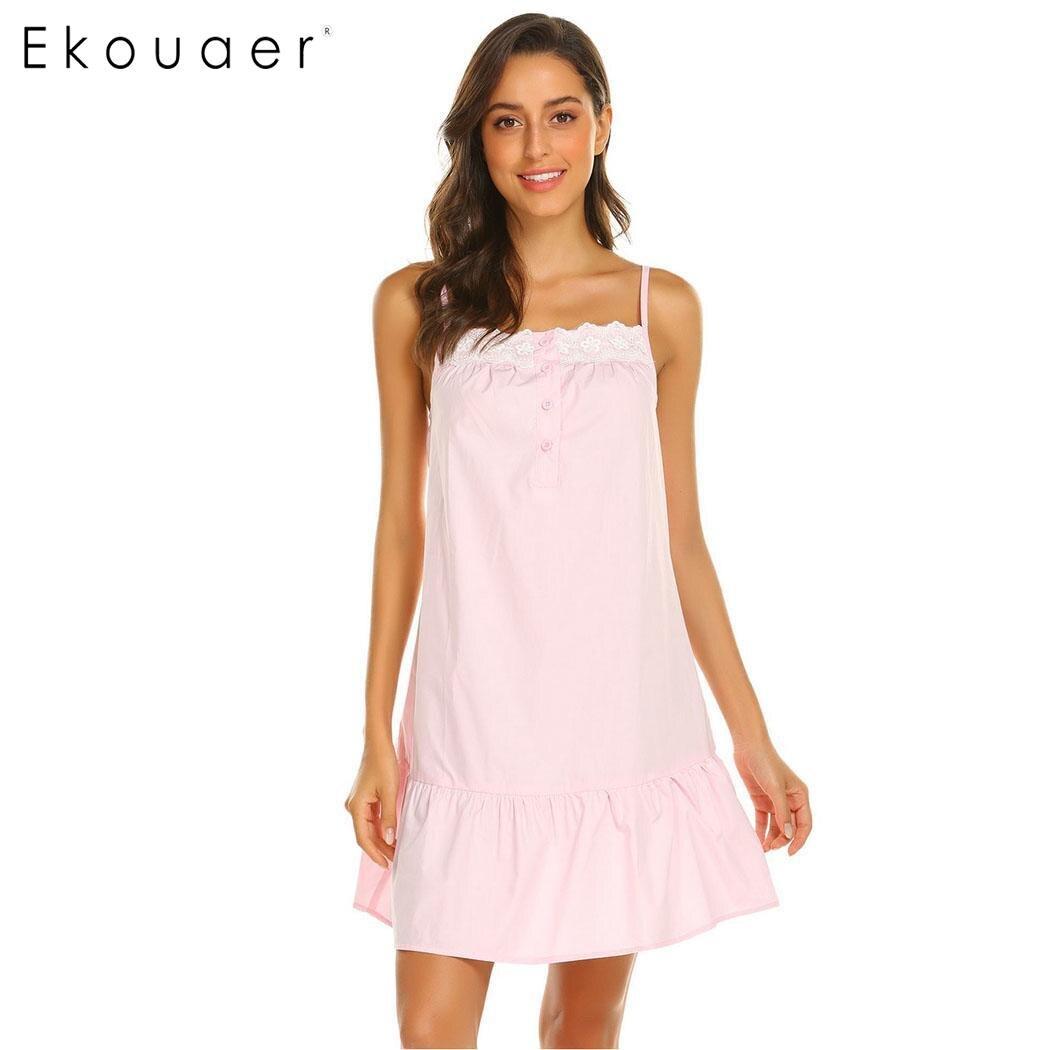 Ekouaer Women Sexy   Nightgown   Lingerie Fashion   Sleepshirts   Lotus Floral Hem Strappy Chemise Sleep Dress Laday Nightwear Dress