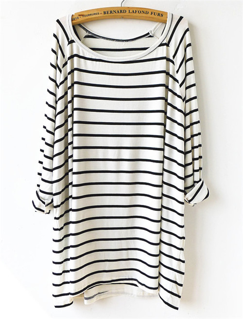 White and black striped shirt women for Black and white striped long sleeve shirt women
