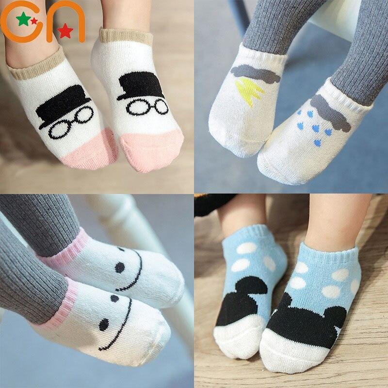 3 пар/лот для девочек и мальчиков Модная хлопковая Носки для девочек для малышей милые носки с мультяшным рисунком детские осенние/Зимние ви...