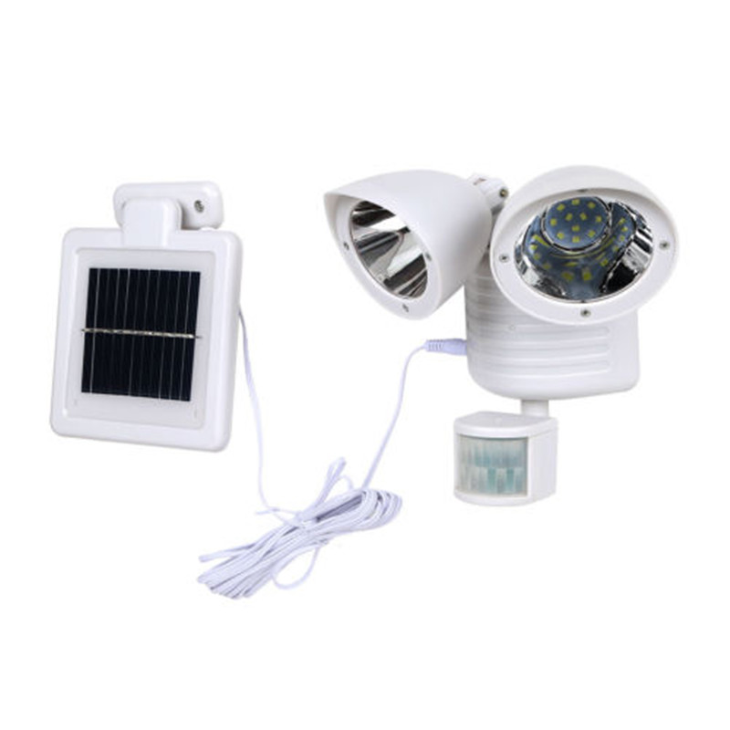 Solar Power Dual Security Detector Spot Light Motion Sensor Outdoor Floodlight