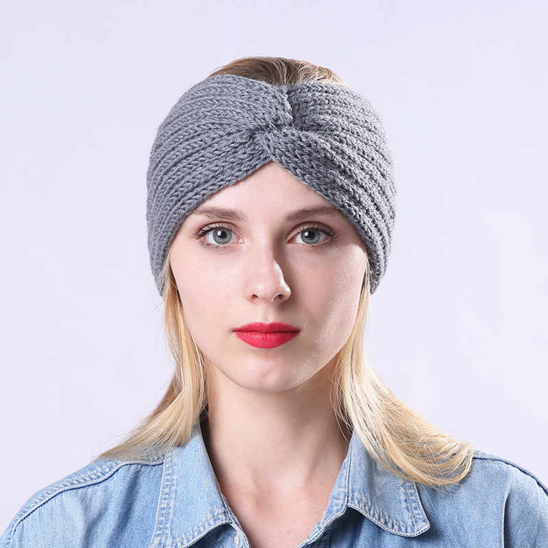 b4016e4c21f ... Winter Knitted Twist Headband For Women Girls Warmer Ear Wool Turban  Hairband Headwrap Bandage Hair Accessories