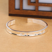 Sanskrit Six Words Bangles For Women And Men 925 Pure Silver Opening Cuff Bracelet Lovers Om Mani Padme Hum Buddhism Jewelry цена