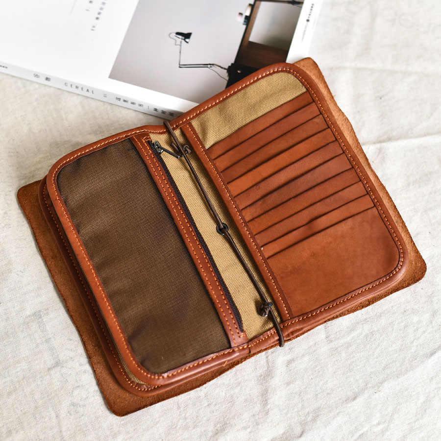 e03c7be52c35 SIMLINE Genuine Leather Men Wallet Clutch Bag Vintage Handmade Long Purse  Organizer Travel Wallets Passport Card Holder For Male