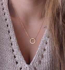 Vòng tròn Mặt Dây Vòng Cổ Eternity Necklace Karma Infinity Bạc Đồ Trang Sức Nhỏ Gọn Vòng Cổ Xinh Xắn Mãi Mãi Vòng Tròn Vòng Cổ Quà Tặng