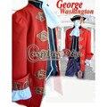 Por Encargo de la George Washington de lujo Uniforme Hombres Adultos Del Partido de Danza Cosplay D0527