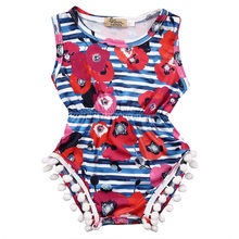 new fashion Newborn Infant Baby Girl clothes floral tassel striped Bodysuit sleeveless Jumpsuit Outfits Sunsuit Clothes(China)