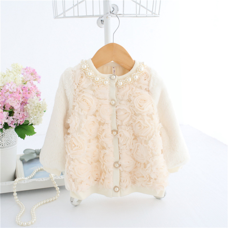 Faux Fur Coats Ivory Toddler Baby Girl Cardigan Pearl Decor 3D Rose Front Sweater Princess Dress Wear A014 Baby Winter Outerwear faux fur cuff pearl beading scallop dress