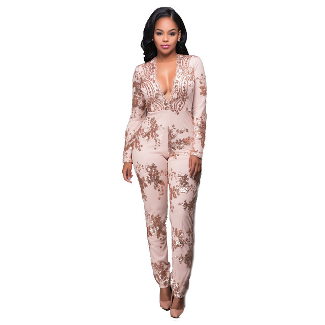 16b1ada8085 Rompers Women Jumpsuit Winter 2018 Night Party Evening Club Stretch Bodycon  Sexy V Neck Gold Sequin Long Sleeve Rompers Jumpsuit