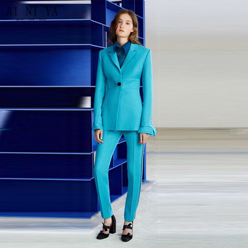 Jacket+Pants Womens Business Suit Lake Blue Female Office Uniform Ladies Formal Trouser 2 Piece Sets Single Breasted Custom Made