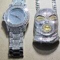 Karopel мужские хип-хоп Iced Out имитация CZ наручные часы с цирконием Amp GoonSki ожерелье с подвеской-маской Набор