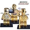 1 UNID Star Wars C3PO Iron Man Mr Oro Edición Limitada chrom oro diy figuras superheroes bloques de construcción ladrillos niños diy juguetes