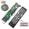 Placa de EXCITADOR V59 Universal LCD Placa de Driver de Controlador de TV T. VST590.31 V59 com Controle Remoto IR TV + PC + AV + HDMI + USB PAL Apoio Russo
