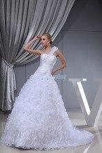 купить free shipping 2014 new design girls' dress one shoulder handmade flowers bridal gown white wedding dress in stock ready to ship дешево
