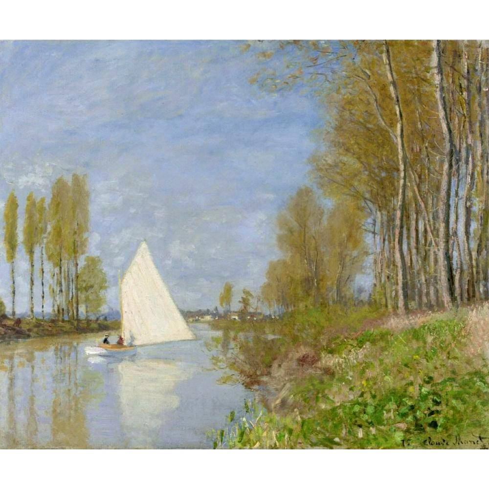 Tableaux Claude Monet de haute qualité à vendre petit bateau sur la petite branche de la Seine à Argenteuil toile art peint à la main