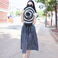 FREE SHIPPING 2016 Summer New Arrival Vintage All Match High Waist Black White Striped A Line Middle Skirt Women BQ611201