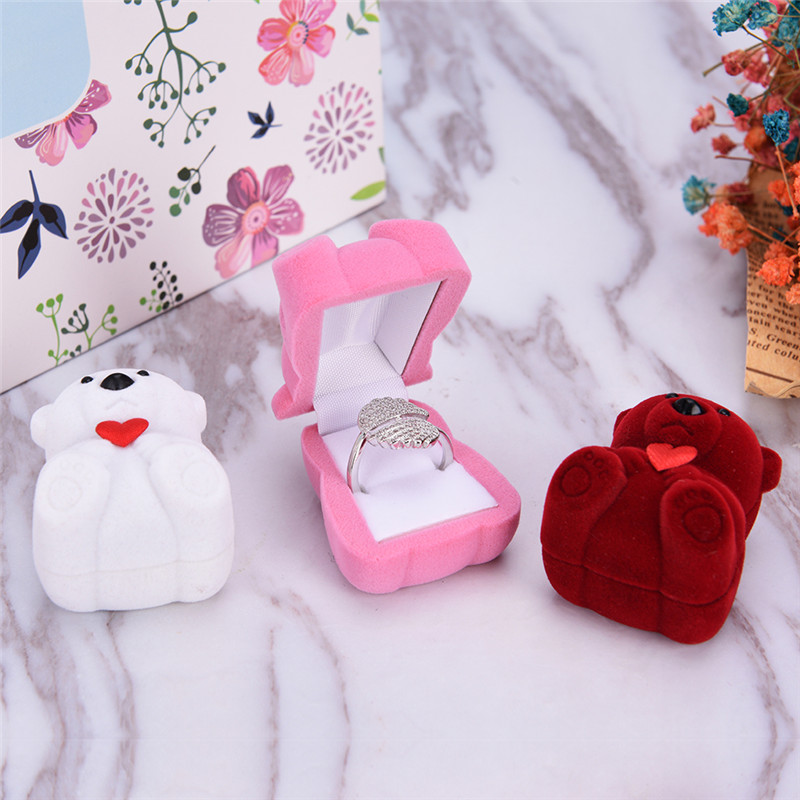 New 1Pc  Creative Velvet Bowknot Bear Ring Earring Bracelet Jewelry Display Box Case Wedding Ring Valentine's Day Gift Organizer